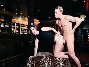 Zoe chick blows bartenders pink cigar and cummed on her pretty face