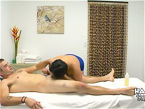 Hidden camera massage sofa fucky-fucky