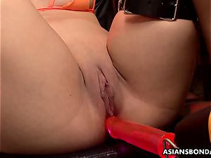 japanese dicksucker got her fat twat oiled and toyed