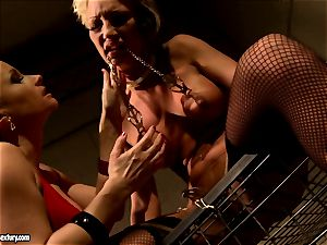 Katy Borman tormenting a towheaded beauty girl