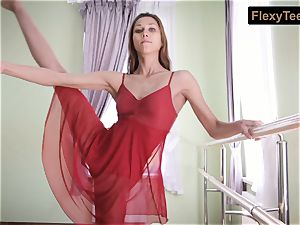 naughty gymnast Inessa in a red dress