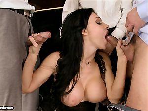Aletta Ocean gangbang as she throats a horny gang