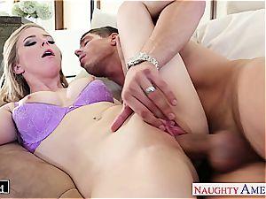 Ravishing Penny Pax slides his rigid man rod inbetween her puss lips