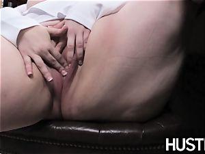 ginger-haired plus-size Eliza Allure jizm wiped after office hump