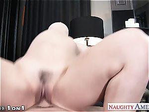 stellar Sarah Vandella opens wide for a pecker inside