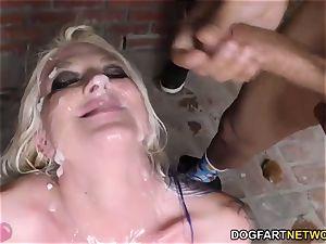 Leya Falcon deepthroats and deep-throats many ebony dicks