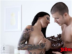tatted honey Lily Lane bashed and fed with hot jizm