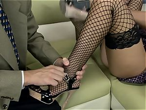 London poked on a bed in fishnet pantyhose