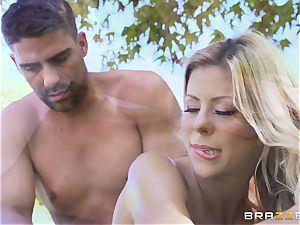 Alexis Fawx getting an outdoor smash and rubdown