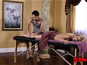 buxomy cougar Alexis Fawx enjoys a lollipop railing massage