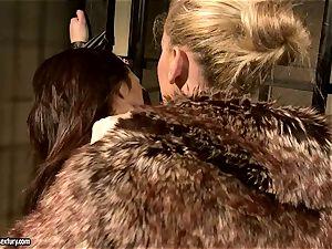 Kathia Nobili in unshaved jacket tantalizing a super-fucking-hot honey