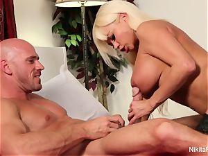 Nikita bj's and penetrates his rock-hard trouser snake