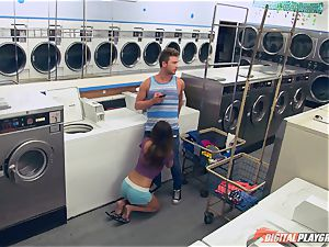 Dillion Harper pulverized in a laundry basket