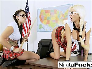 Classroom teasing leads to girl/girl ravaging