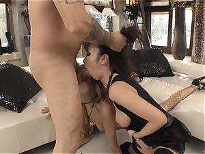 scorching three way with Marica Hase and Leyla dark-hued