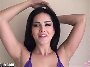 SunnyLeone Sunny Leone in splendid purple underwear