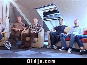 six oldman plumbing in gang a beautiful torrid light-haired