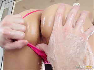 Sarah Vandella suffers an oily ass fucking tearing up