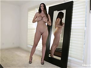 Tall goddess Alison Tyler stuffs her coochie with a plaything