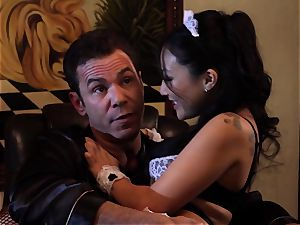 messy Maid Asa Akira analled by the chief
