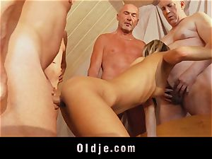 aged school group fuck featuring lean young light-haired