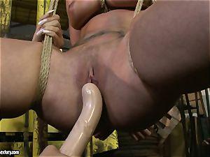 Kathia Nobili and Mandy Bright faux-cock pounding hard