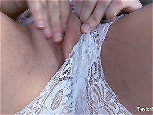 fabulous Taylor Vixen masturbates in milky lingerie
