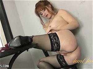 Amber Dawn enjoyments herself wearing hip highs.