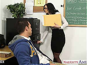 mischievous Kendra pounded on her desk