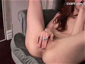 wooly redhead splatters after strong self fucking scene