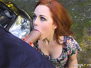 Stranded babe Ella Hughes pulverizes for her car fix