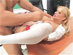 Bad college girl Shyla gets porked by her teacher